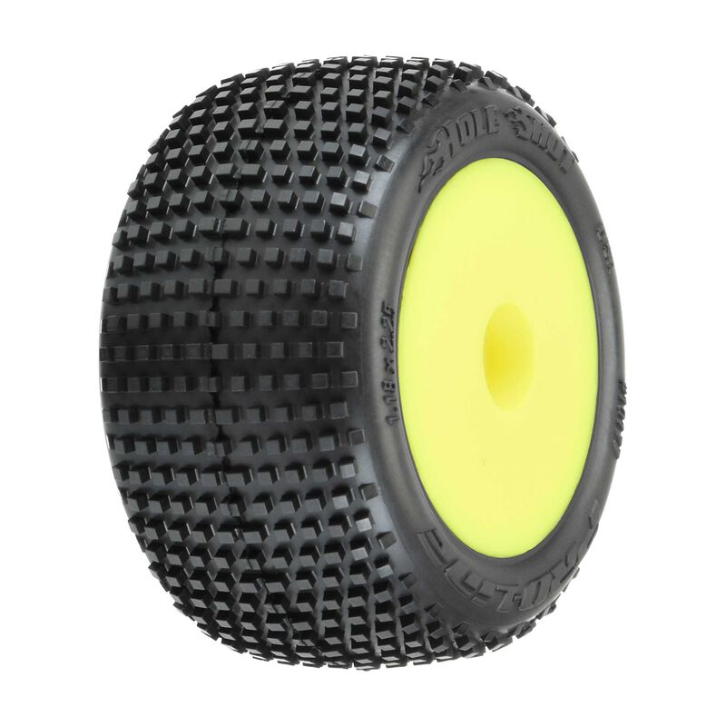 1/18 Hole Shot Front/Rear Mini-T Tires Mounted 8mm Yellow Wheels (2)