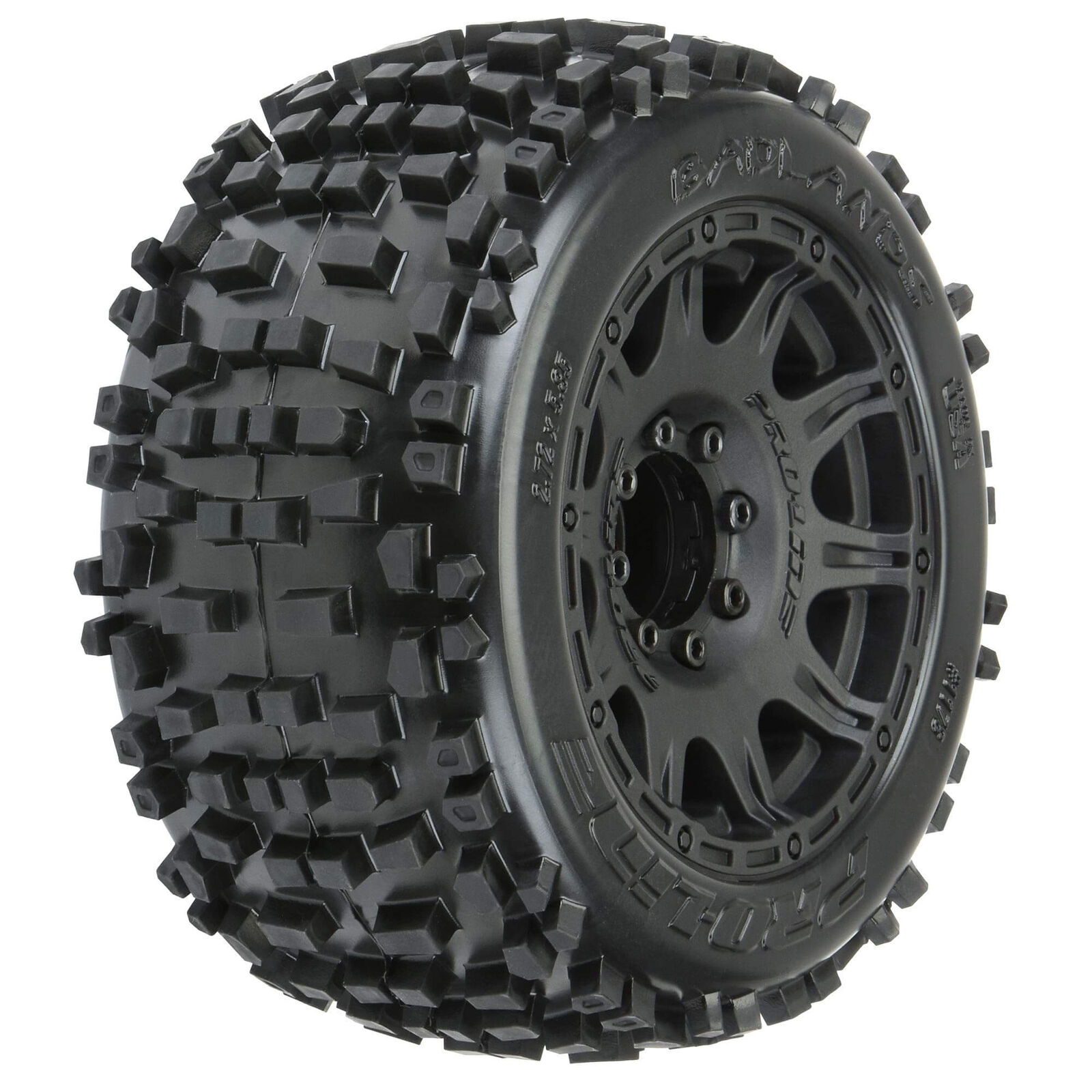 1178-10 Pro-Line Badlands 3.8″ All Terrain Tires Mounted for 17mm MT Front or Rear (Removable Hex)