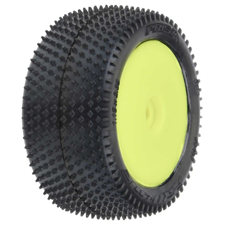 1/18 Prism Rear Carpet Mini-B Tires Mounted 8mm Yellow Wheels (2)