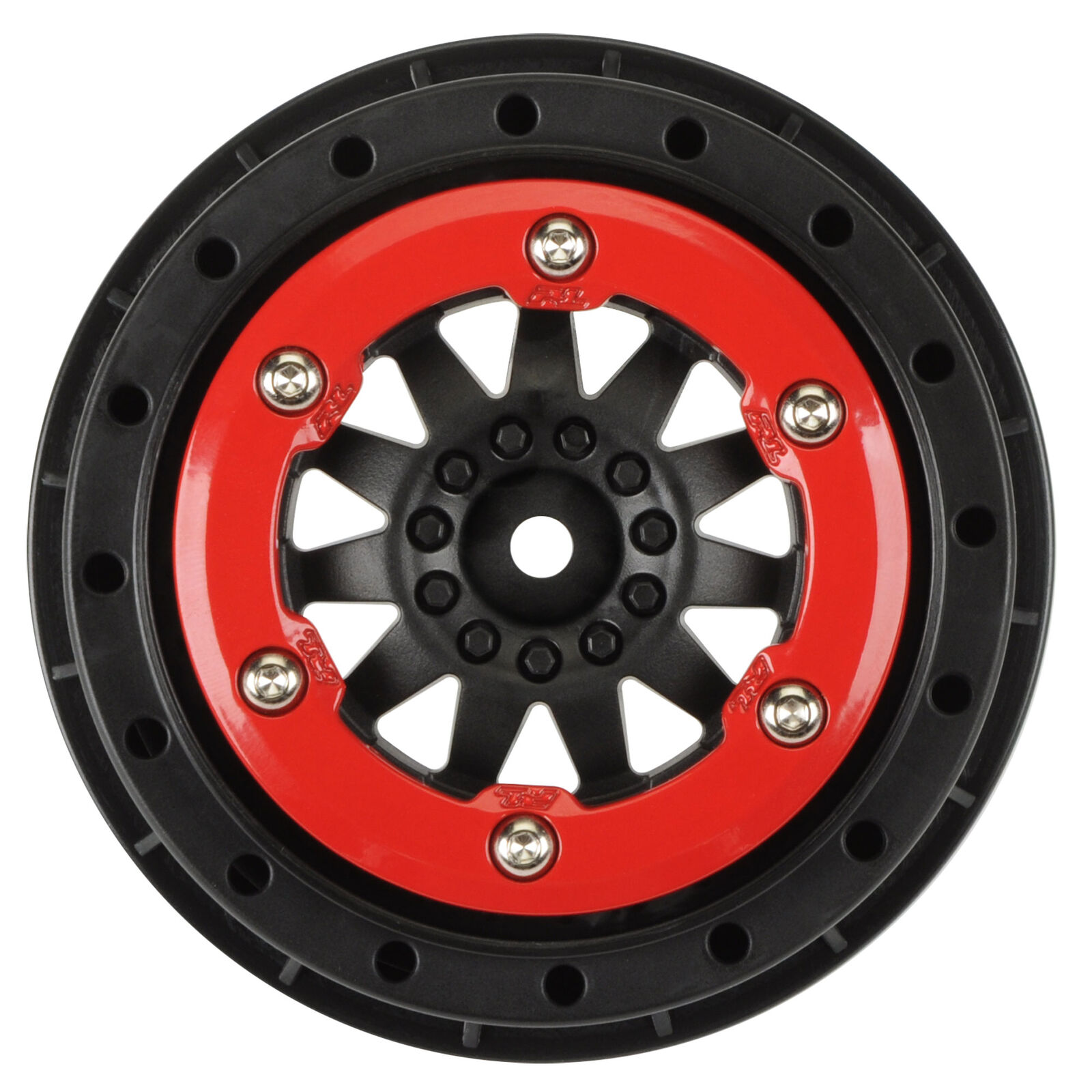 """1/10 F-11 Front/Rear 2.2""""/3.0"""" 12mm Short Course Wheels (2) Red/Blk"""