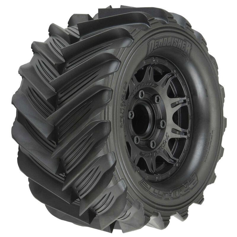 "1/10 Demolisher F/R 2.8"" Mounted MT 12mm Black Raid Tires (2)"