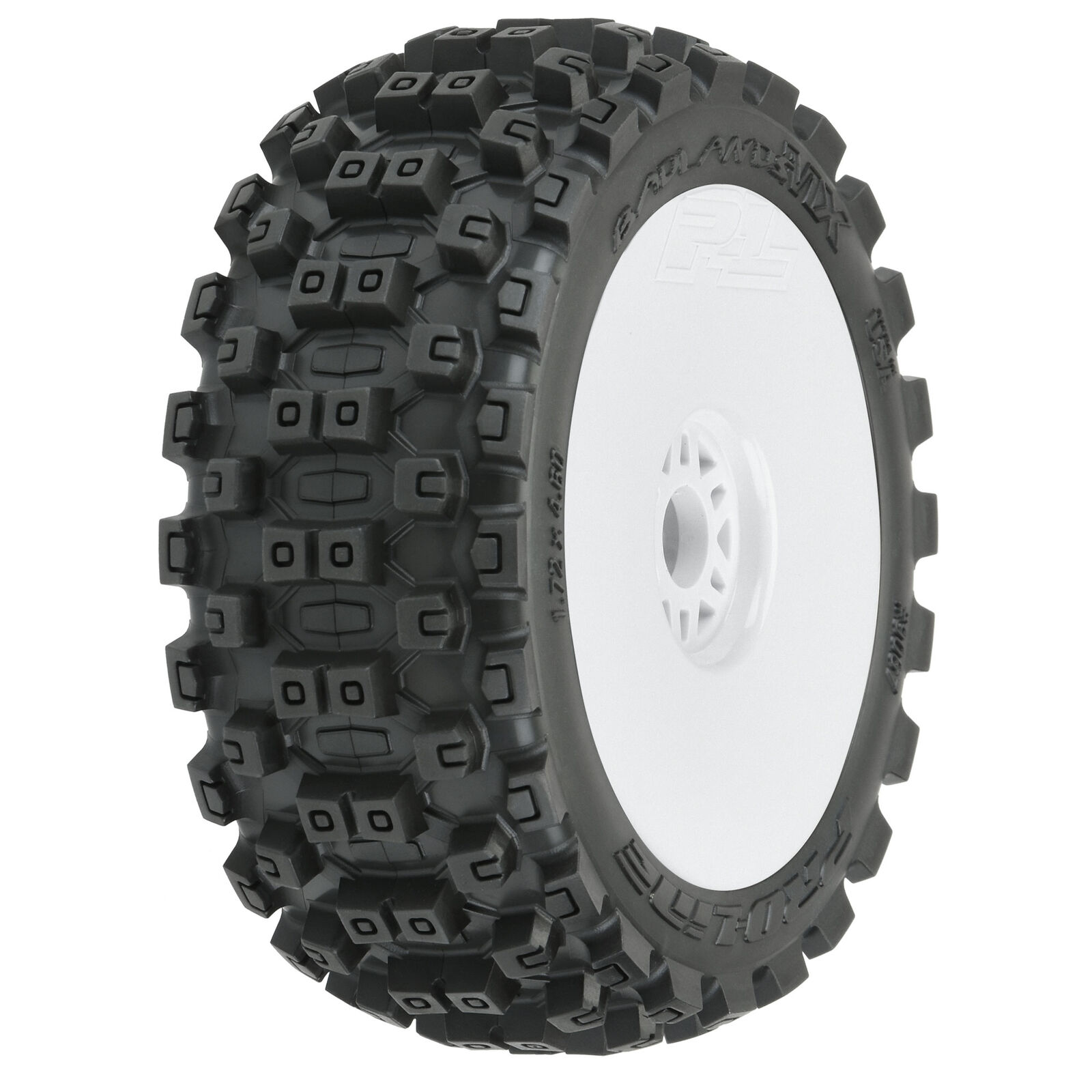 1/8 Badlands MX M2 Front/Rear Buggy Tires Mounted 17mm White (2)