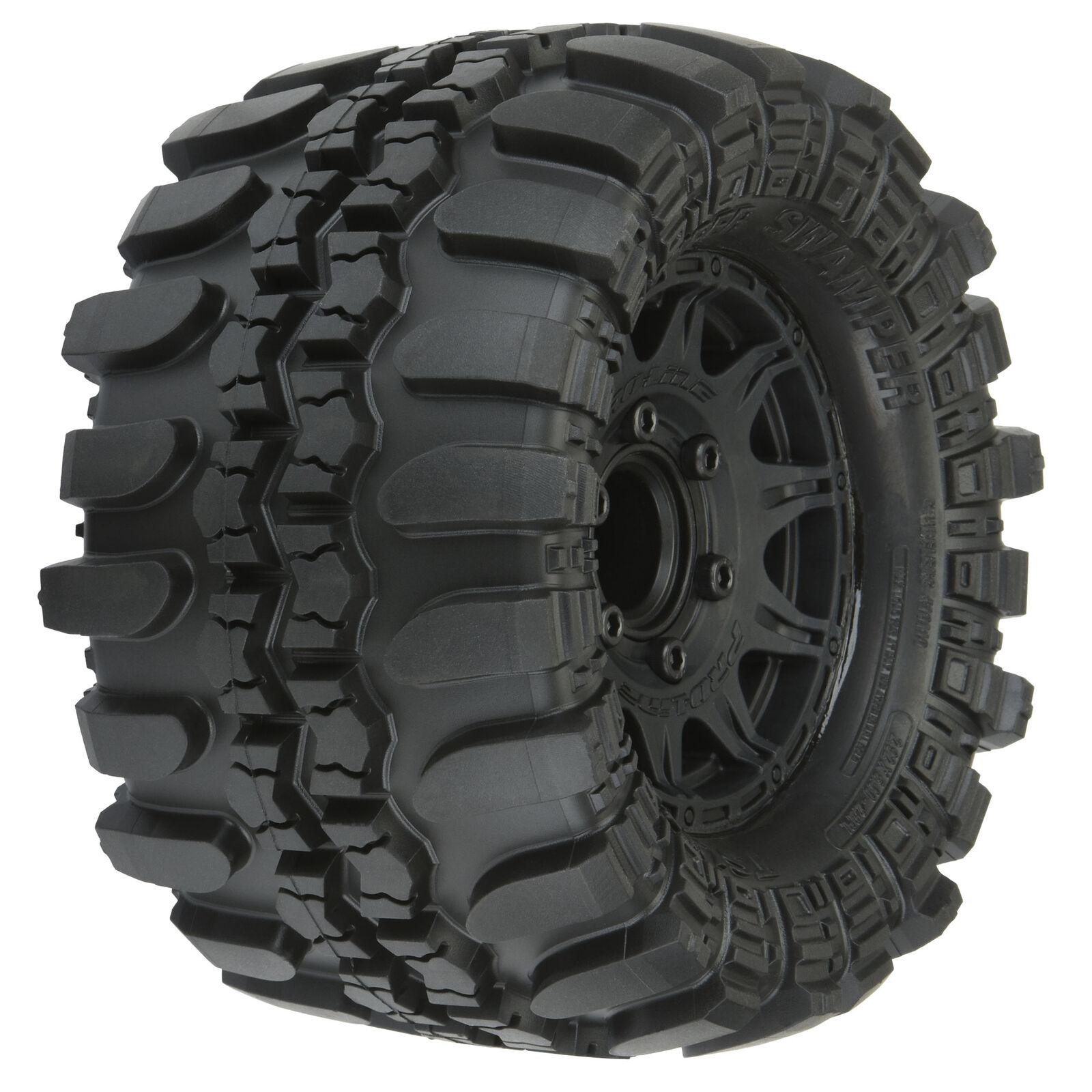"1/10 Interco Supr Swmpr F/R 2.8"" MT Tires Mounted 12mm Blk Raid (2)"