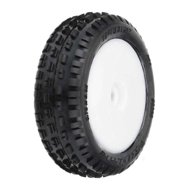 1/18 Wedge Front Carpet Mini-B Tires Mounted 8mm White Wheels (2)
