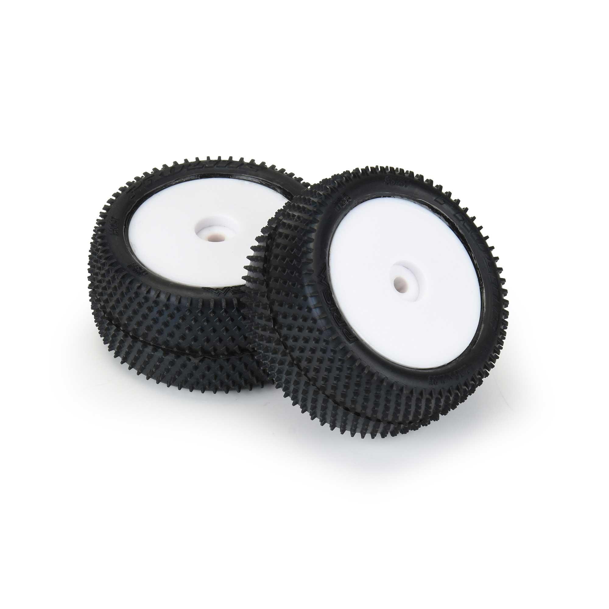 1/18 Prism Rear Carpet Mini-B Tires Mounted 8mm White Wheels (2)