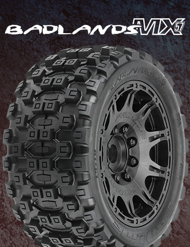 Badlands MX57 All Terrain Tires Mounted on Raid 5.7